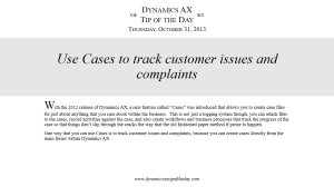Use Cases to Track Customer Issues and Complaints