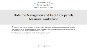 Hide the Navigation and Fact Box panels for more workspace