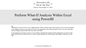 Perform What-If Analysis Within Excel using PowerBI