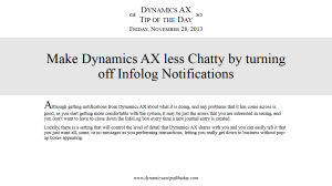 Make Dynamics AX less Chatty by turning off Infolog Notifications