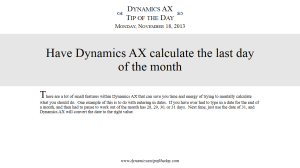 Have Dynamics AX calculate the last day of the month