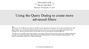 Using the Query Dialog to create more advanced filters