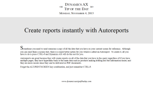 Create reports instantly with Autoreports