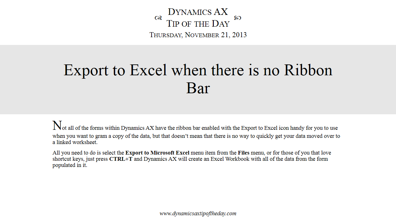 export to excel when there is no ribbon bar dynamics companions. Black Bedroom Furniture Sets. Home Design Ideas