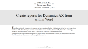Create reports for Dynamics AX from within Word
