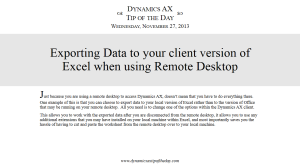 Exporting Data to your client version of Excel when using Remote Desktop
