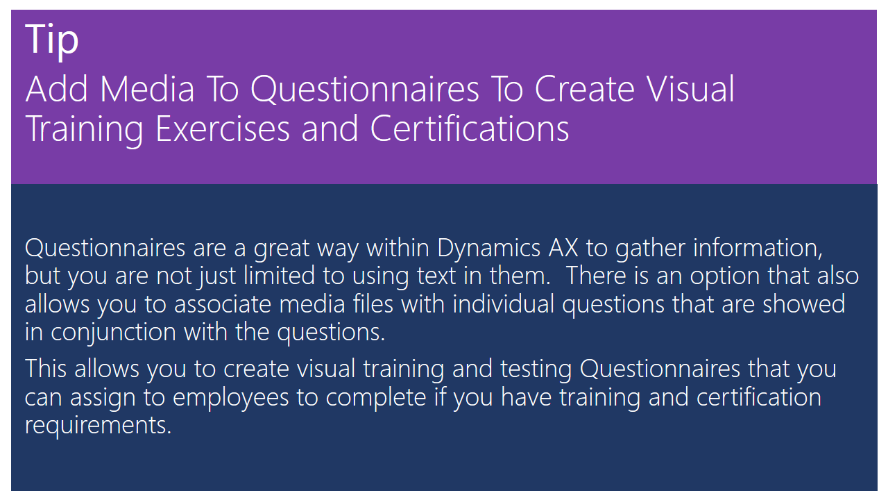 Add Media To Questionnaires To Create Visual Training Exercises And