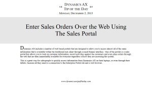Enter Sales Orders Over the Web Using The Sales Portal