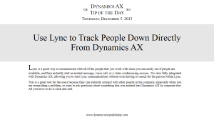 Use Lync to Track People Down Directly From Dynamics AX