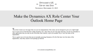 Make the Dynamics AX Role Center Your Outlook Home Page