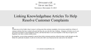 Linking Knowledgebase Articles To Help Resolve Customer Complaints