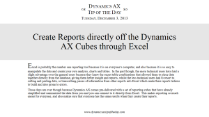 Create Reports directly off the Dynamics AX Cubes through Excel