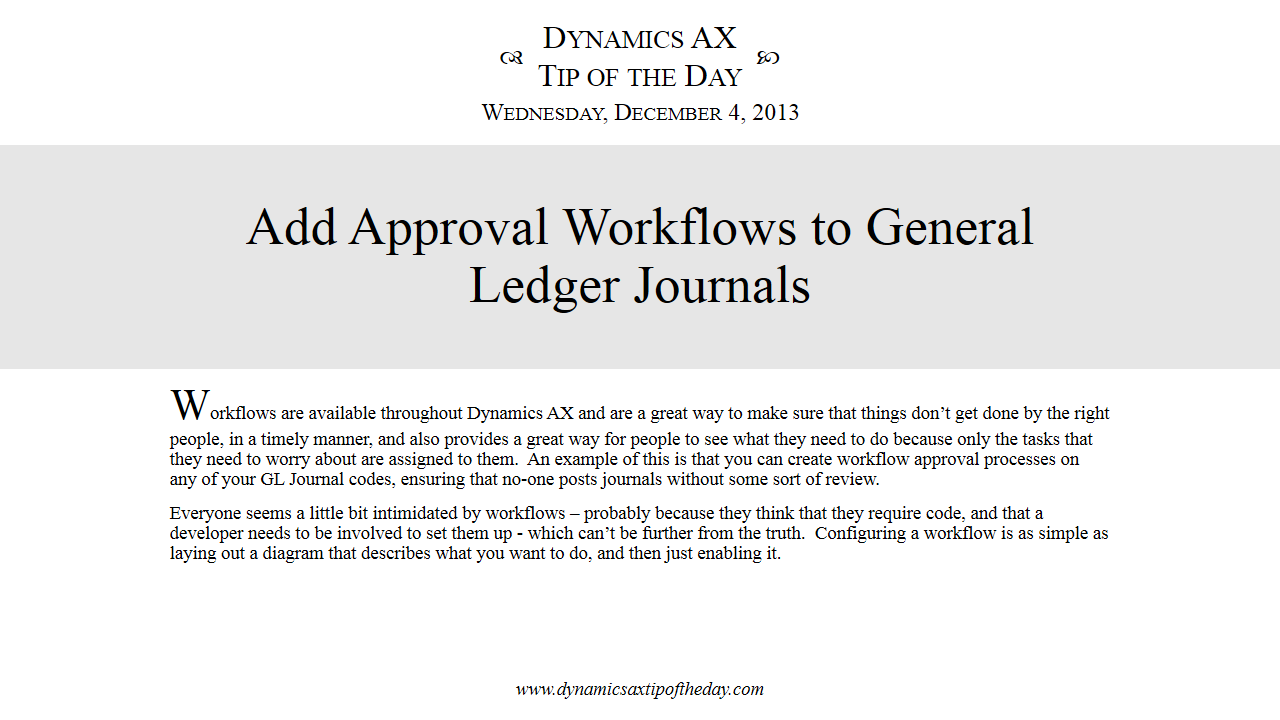 Add Approval Workflows To General Ledger Journals Dynamics Ax Tip Process Flow Diagram Of The Day
