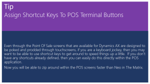 Tip Of The Day - Assign Shortcut Keys To POS Terminal Buttons