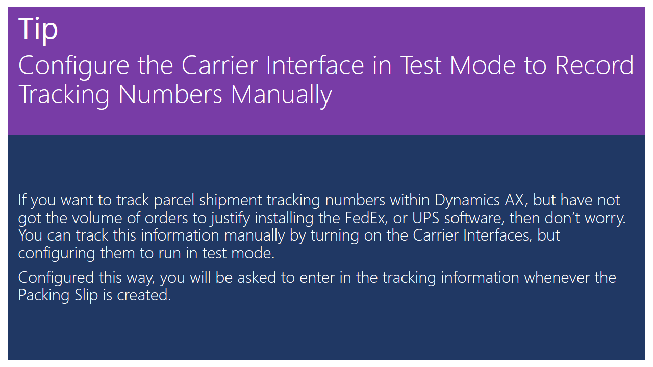 Configure the Carrier Interface in Test Mode to Record Tracking