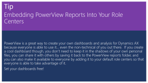 Tip Of The Day - Embedding PowerView Reports Into Your Role Centers