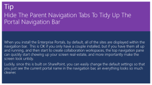 Hide The Parent Navigation Tabs To Tidy Up The Portal Navigation Bar