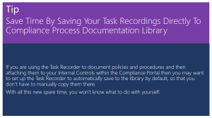 Tip Of The Day - Saving Your Task Recordings Directly To Process Documentation Library