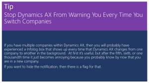 Stop Dynamics AX From Warning You Every Time You Switch Companies