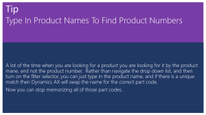 Tip Of The Day - Type In Product Names To Find Product Numbers