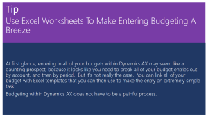 Tip Of The Day - Use Excel Worksheets To Make Entering Budgeting A Breeze
