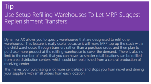 Tip Of The Day - Use Setup Refilling Warehouses for MRP Replenishment