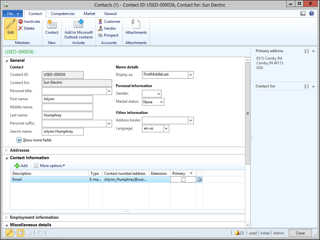 Synchronize Your Contacts Between Dynamics AX And Outlook