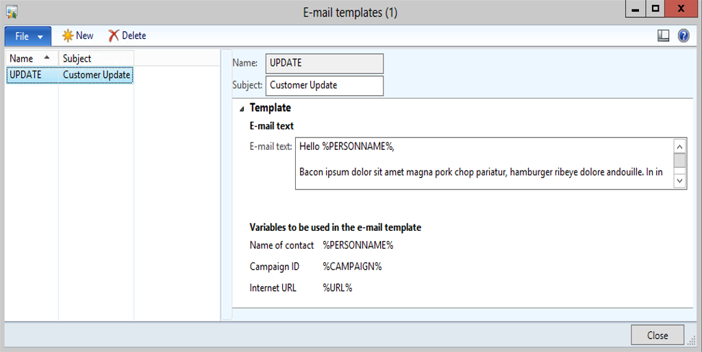 Send Personalized Emails To Contacts Through Campaigns Dynamics AX - Personalized email templates