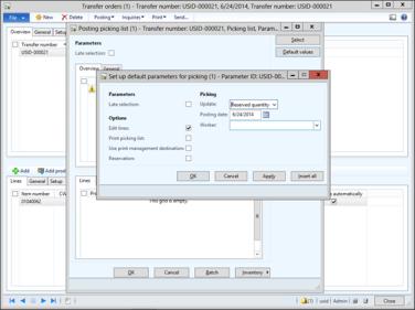 Set Default Parameter Values Into Posting Forms   Dynamics